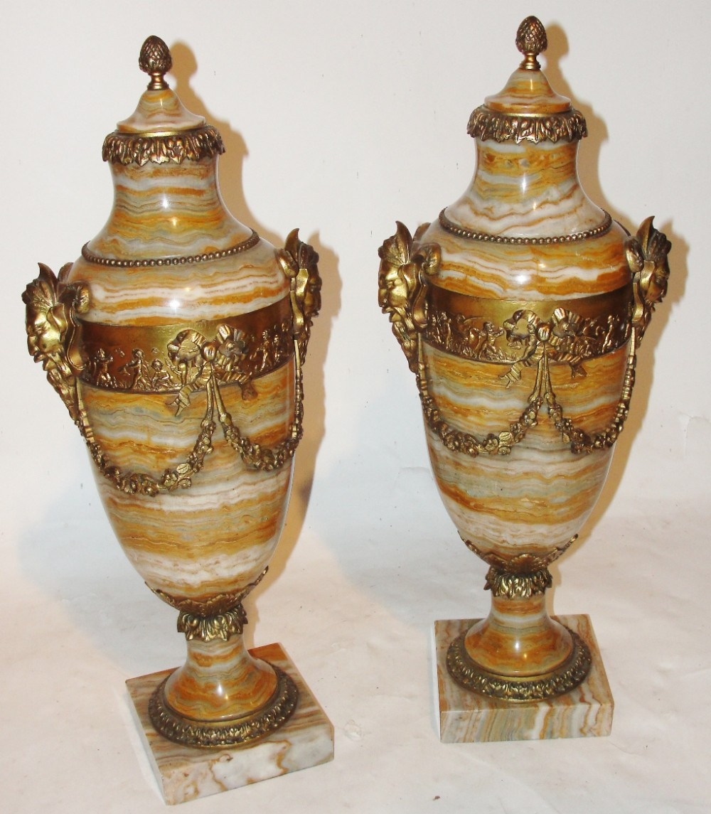 pair victorian onyx marble cassoulets circa 1870