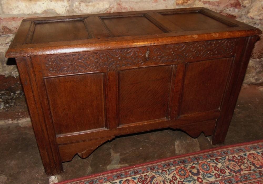 jacobean oak paneled coffer circa 1685