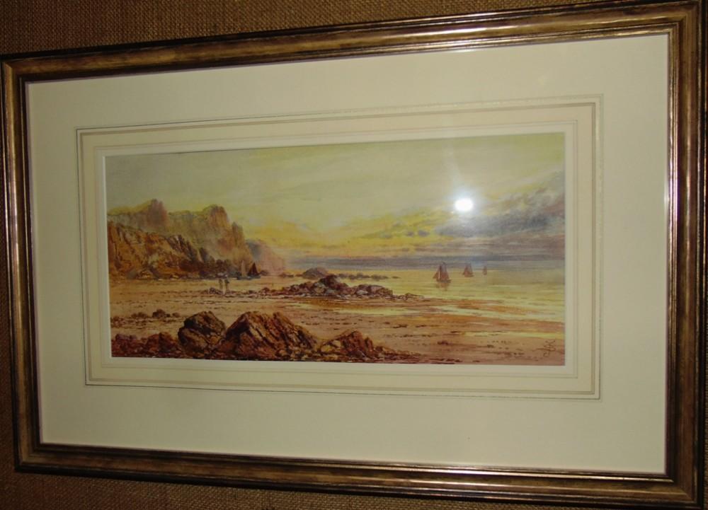 edwardian watercolour coastal scene circa 1905