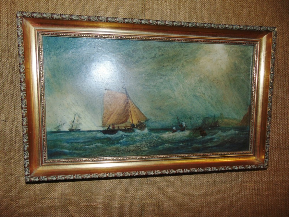 oil on canvas 'storm off whitby' by fielding circa 1880
