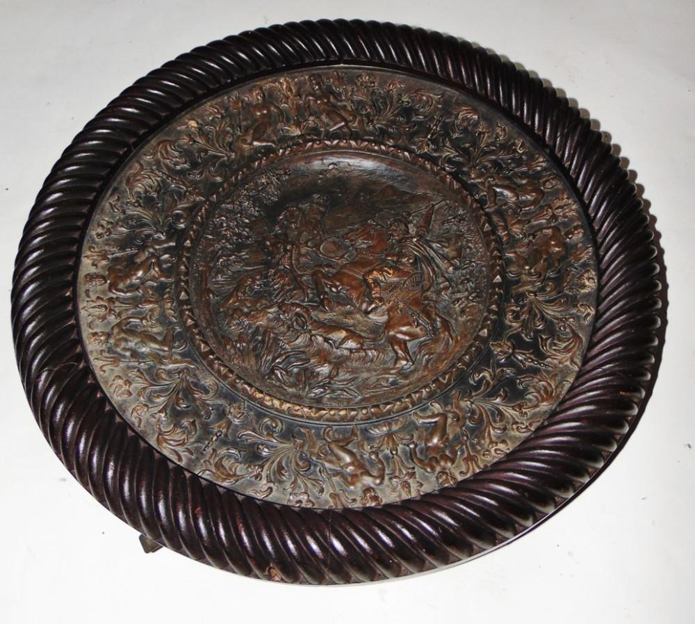 wilhelm schiller son large pottery dish circa 1890