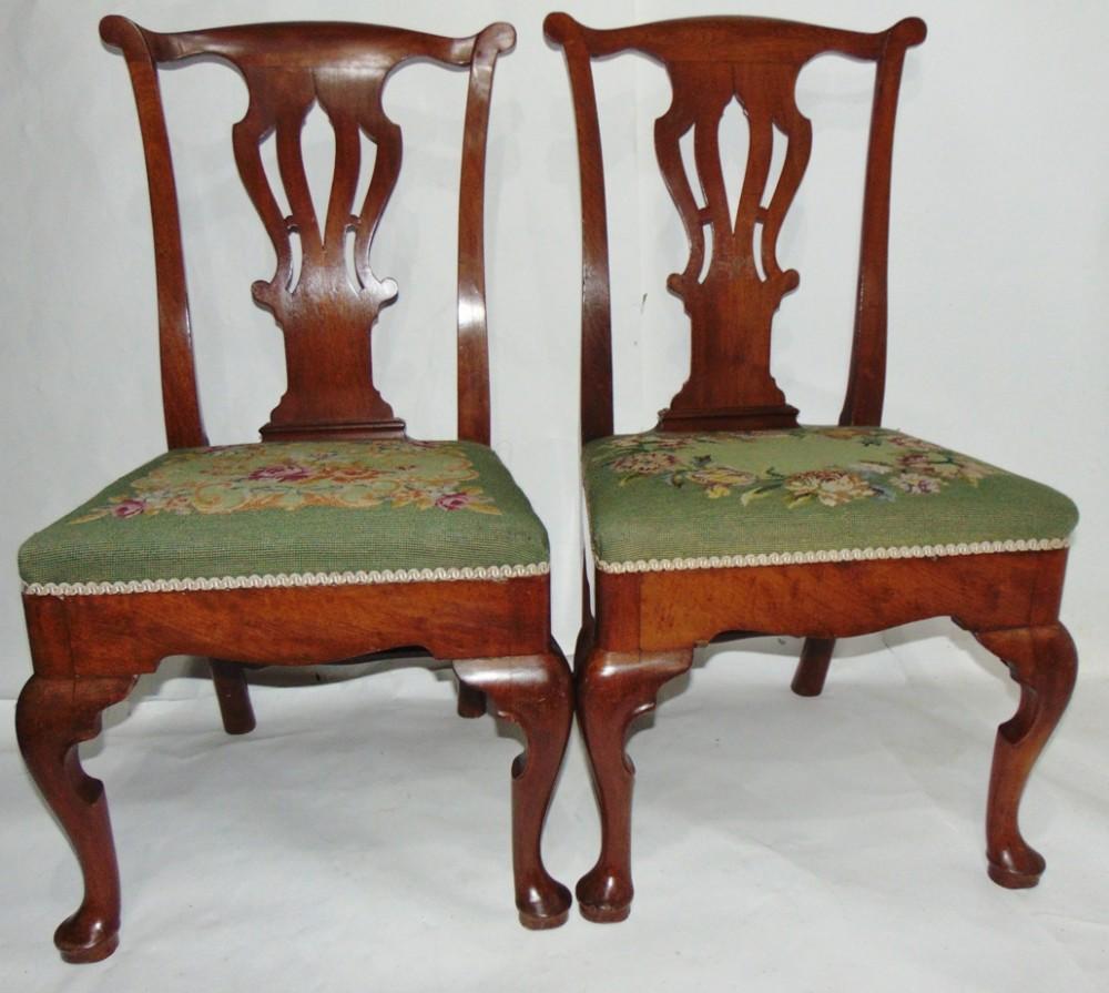 pair george ii walnut chairs circa 1750