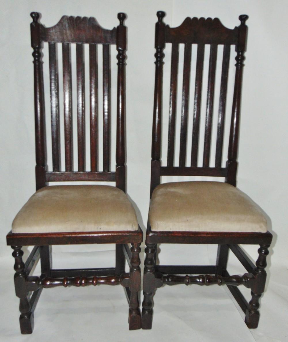 pair jacobean oak high back chairs circa 1680