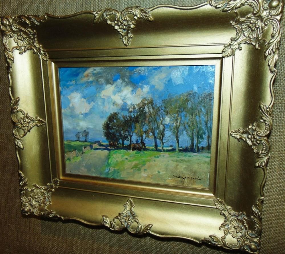rural scene oil by wblamond circa 1900