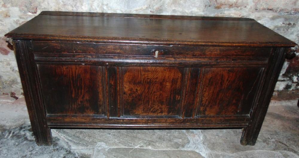 early oak paneled coffer circa 1700
