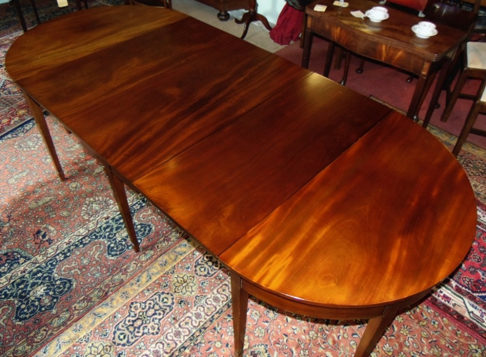georgian mahogany 3 part dining table circa 1790