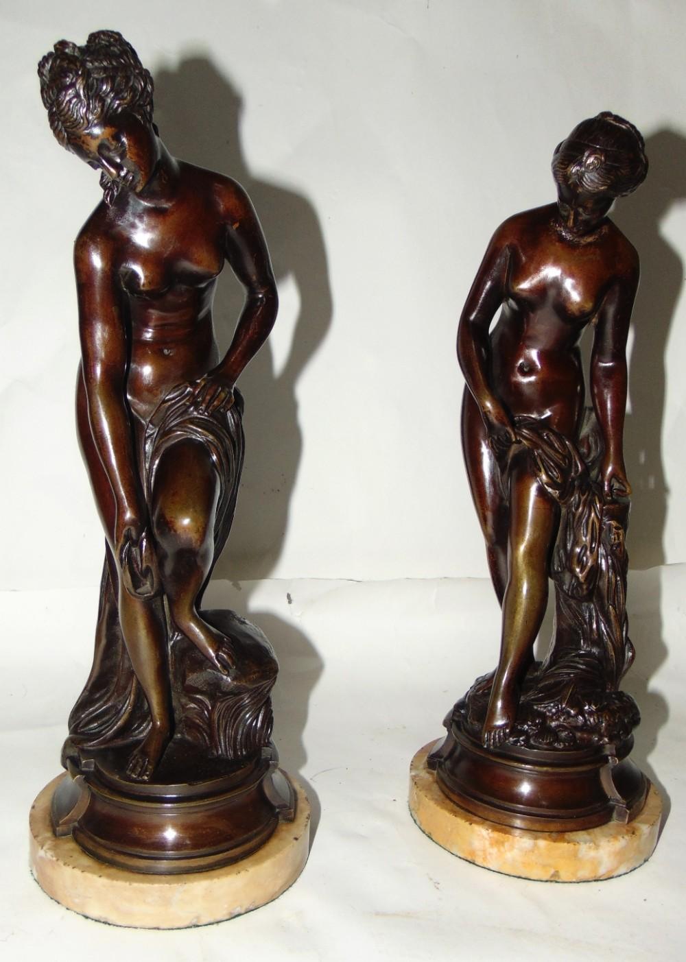 pair bronzes of diana bathing circa 1890