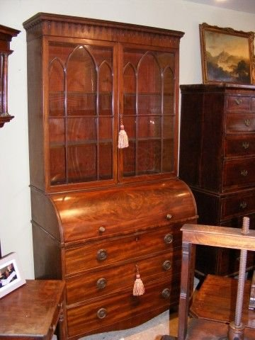 superb georgian mahogany roll top secretaire bookcase - photo angle #2