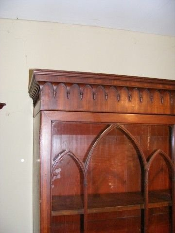 superb georgian mahogany roll top secretaire bookcase - photo angle #5