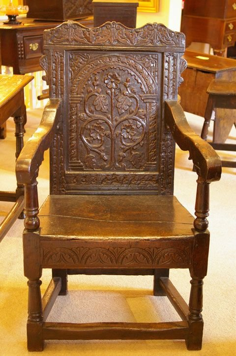 Late 17th Century Oak Carved Oak Wainscot Chair