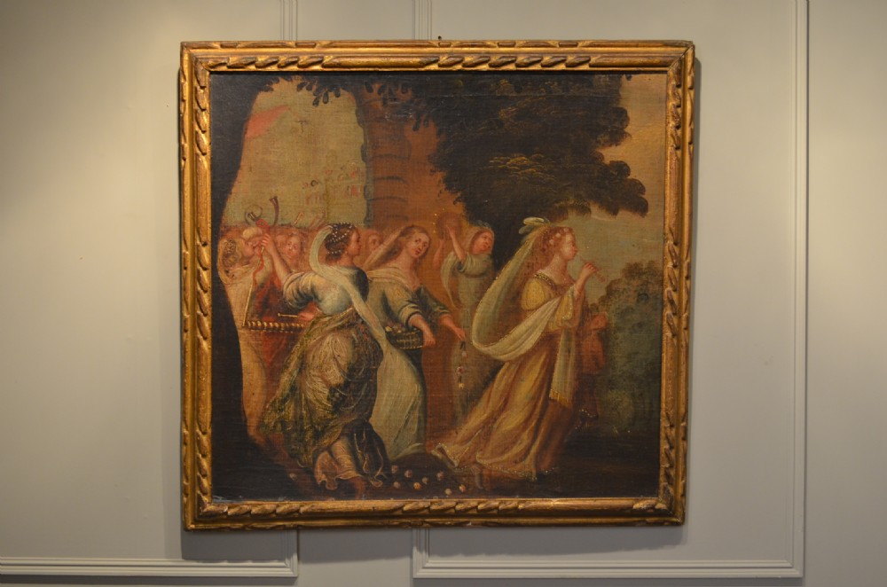 early mid 17th century italian oil of musical procession original carved frame