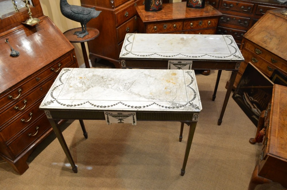 fabulous 19th century decorative matched pair of marble top console tables