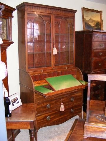 superb georgian mahogany roll top secretaire bookcase