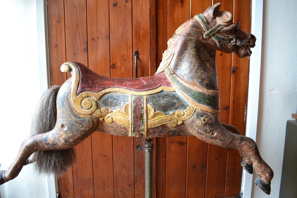 19th Century Carved And Painted Wood Carousel Horse Galloper