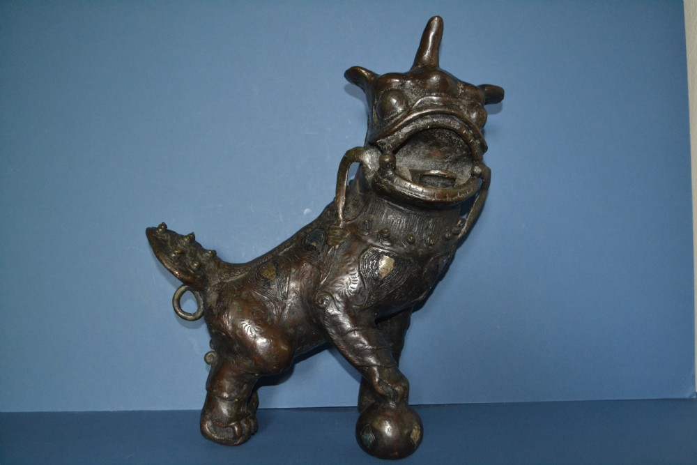 large early 19th century thaiburmese bronze and mirrored fo lion c 1820