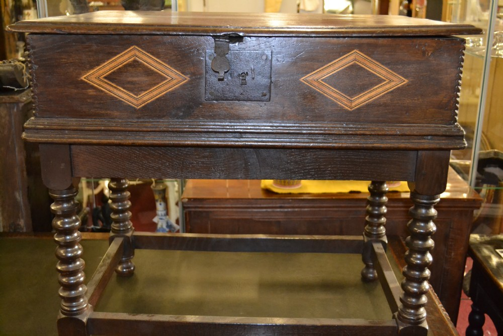 18th century oak bible box with inlaid decoration on later stand c 1760