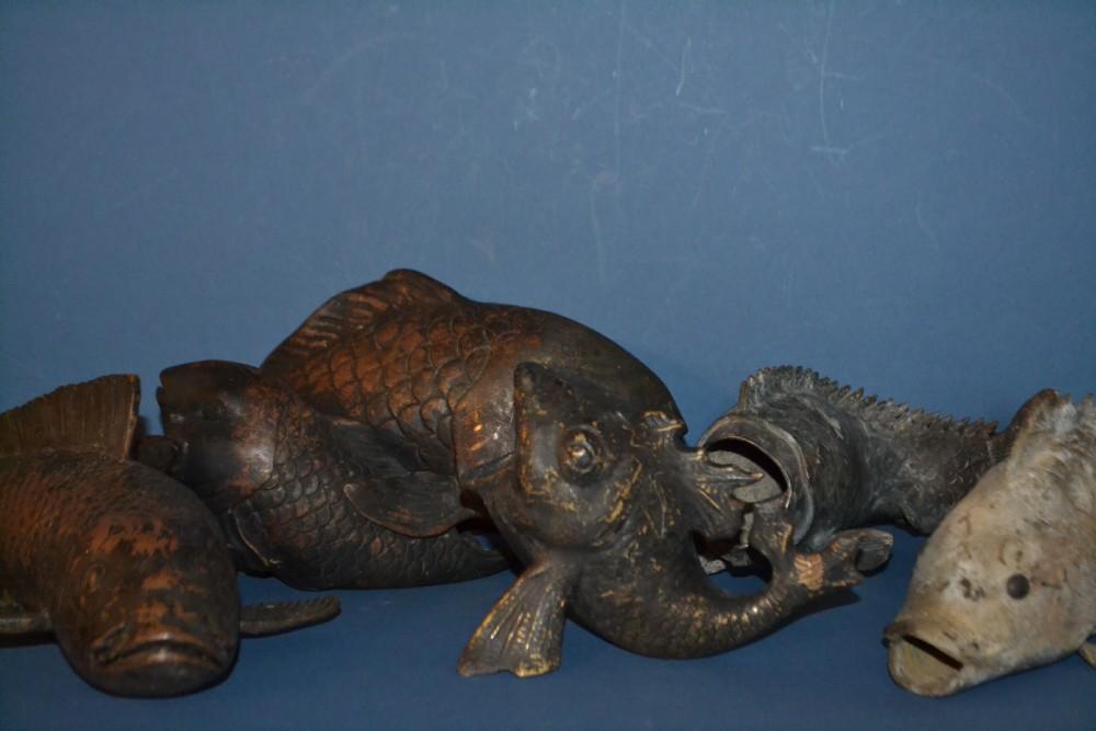 5 early 19th century chinesejapanese bronze koi fishc1820