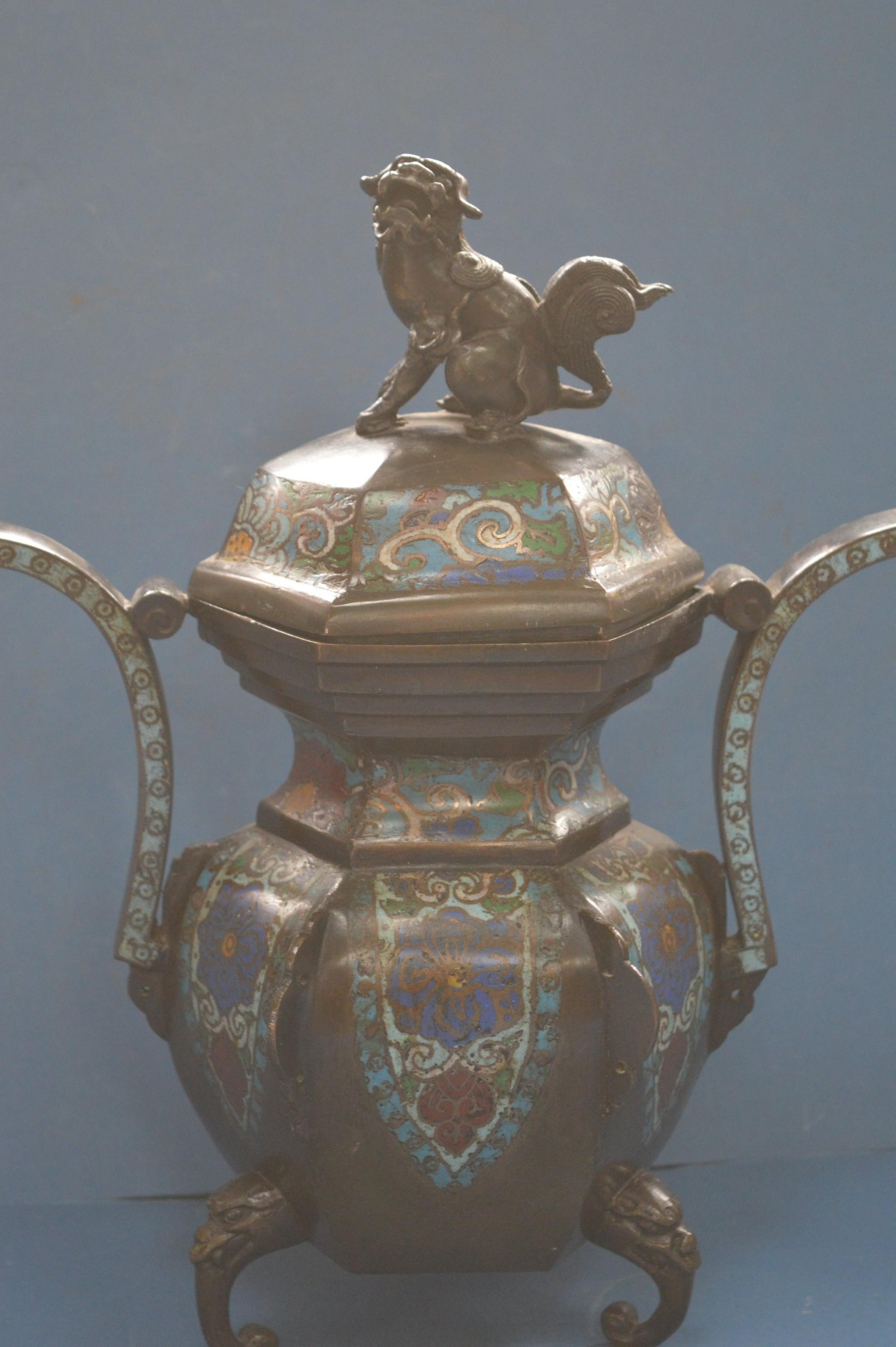 large chinese bronze cloisonn lidded censorc1870