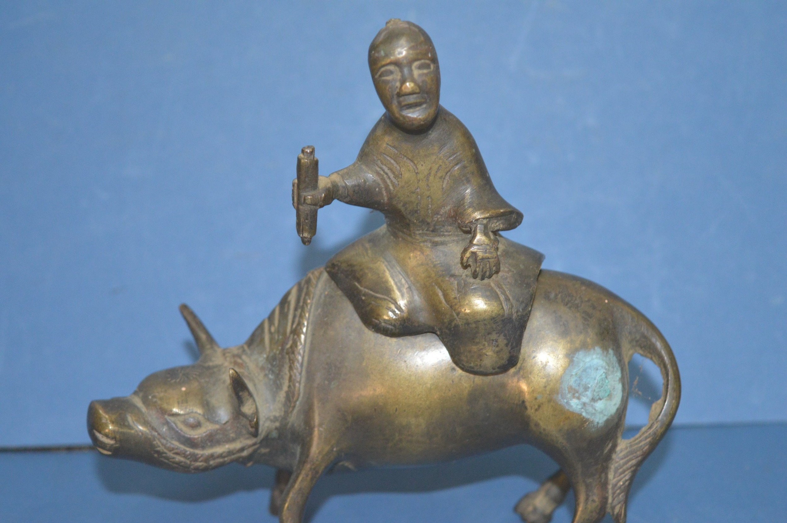 19th century chinese bronze figural censorc1880 man astride an ox