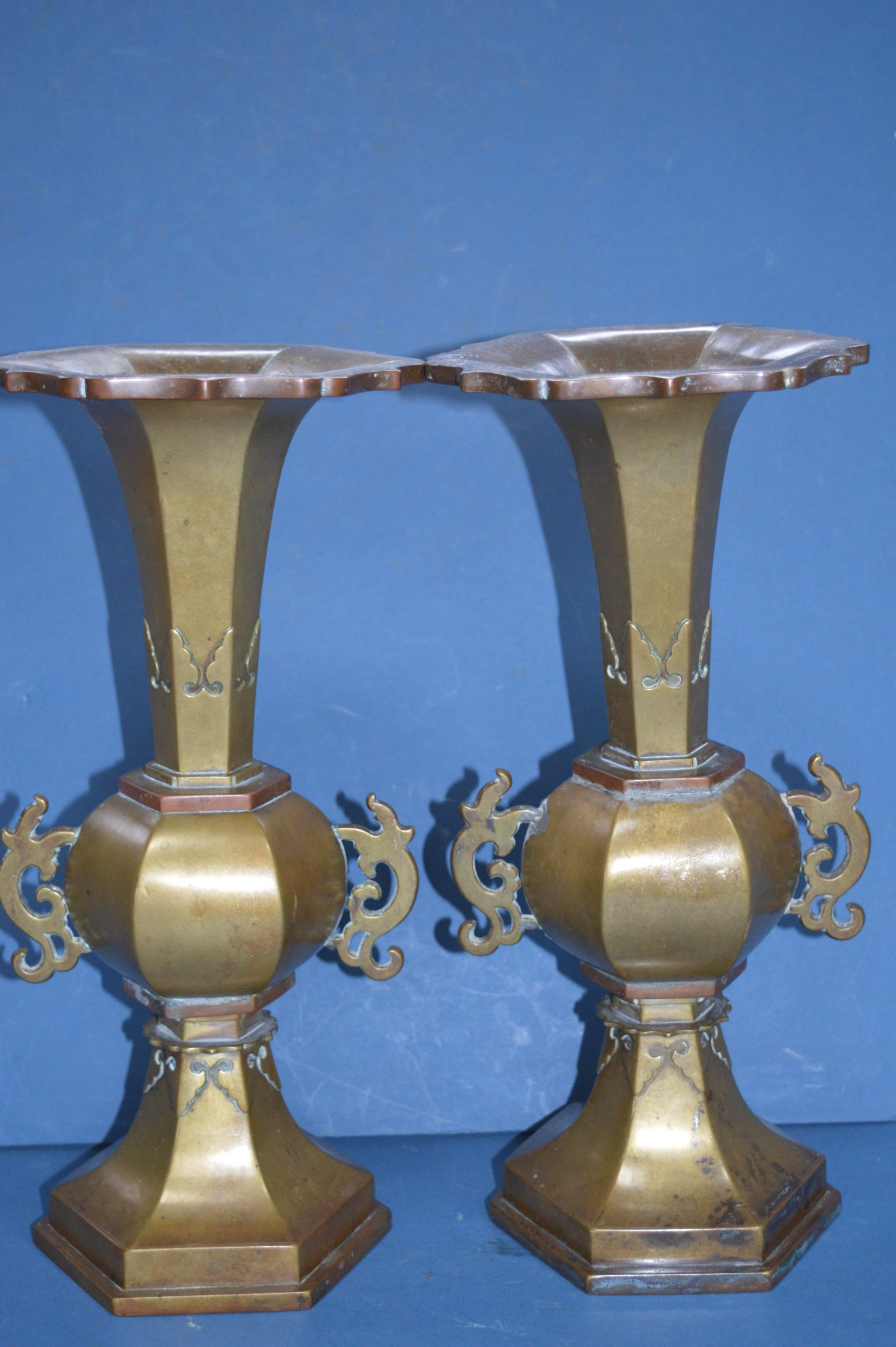 pair large 27 kg 19th century chinese bronze vasesc1880