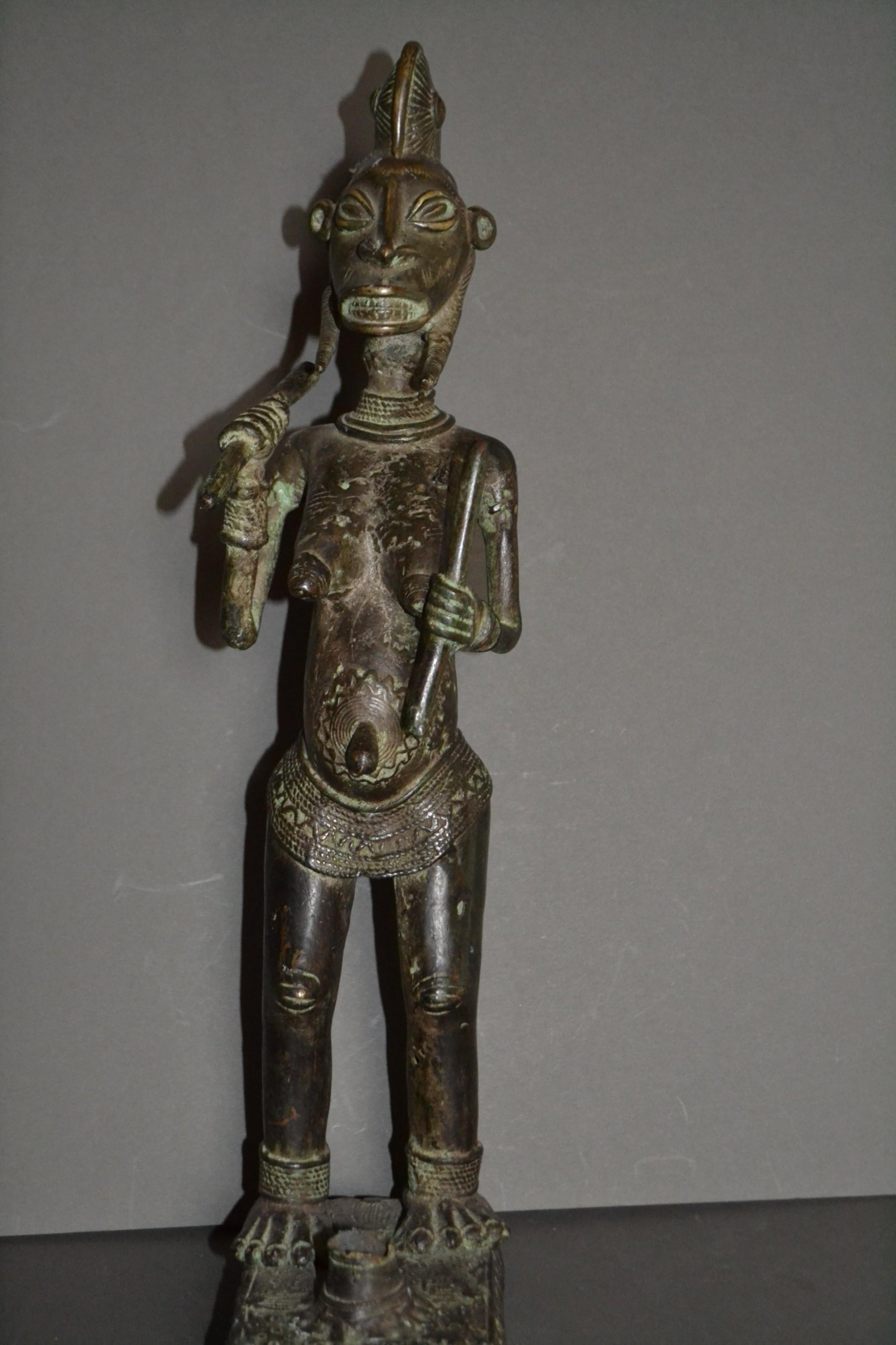 19th century african yoruba tribal bronze fertility statue1880 rare unusual piece
