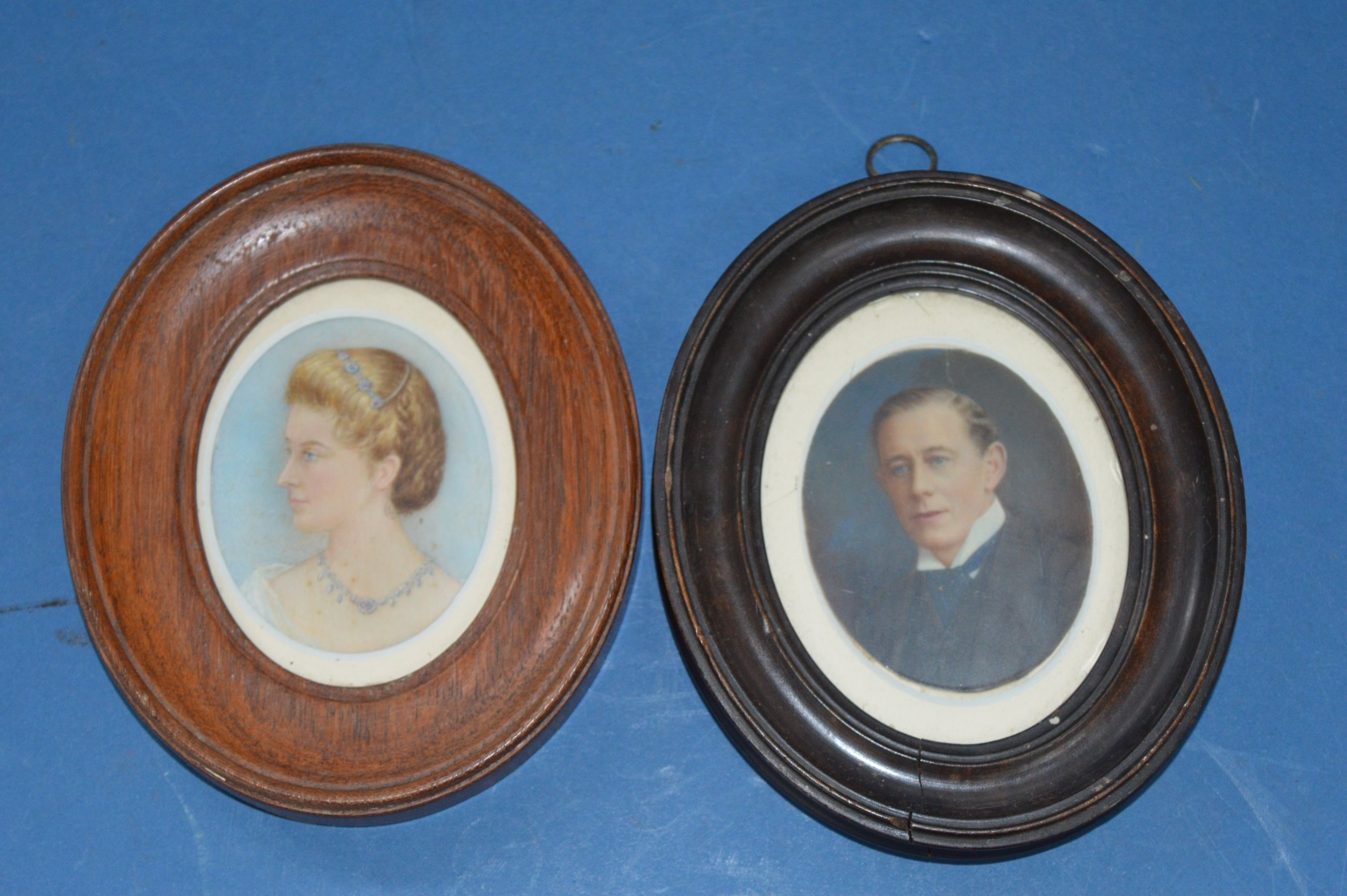 pair 19th century framed miniature watercolour portraits victorian husband and wifec1890 annotated to rear with dateshistory of subjects