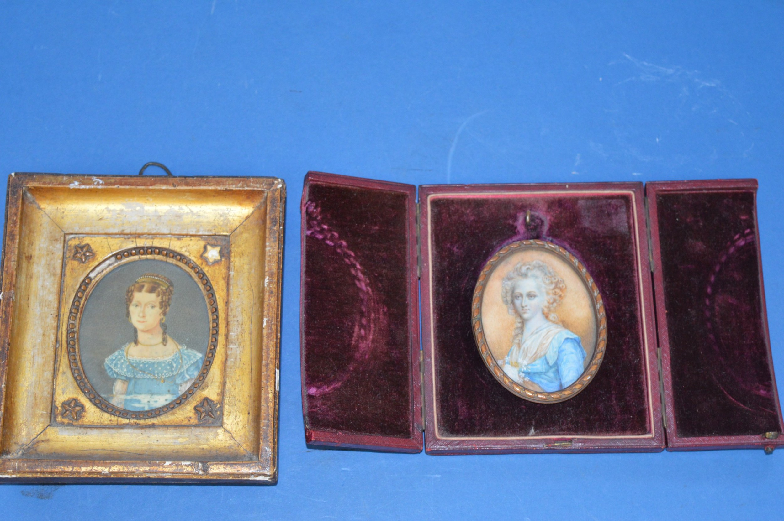 two georgian portrait miniatures c1800original frame and tooled leather carrying case