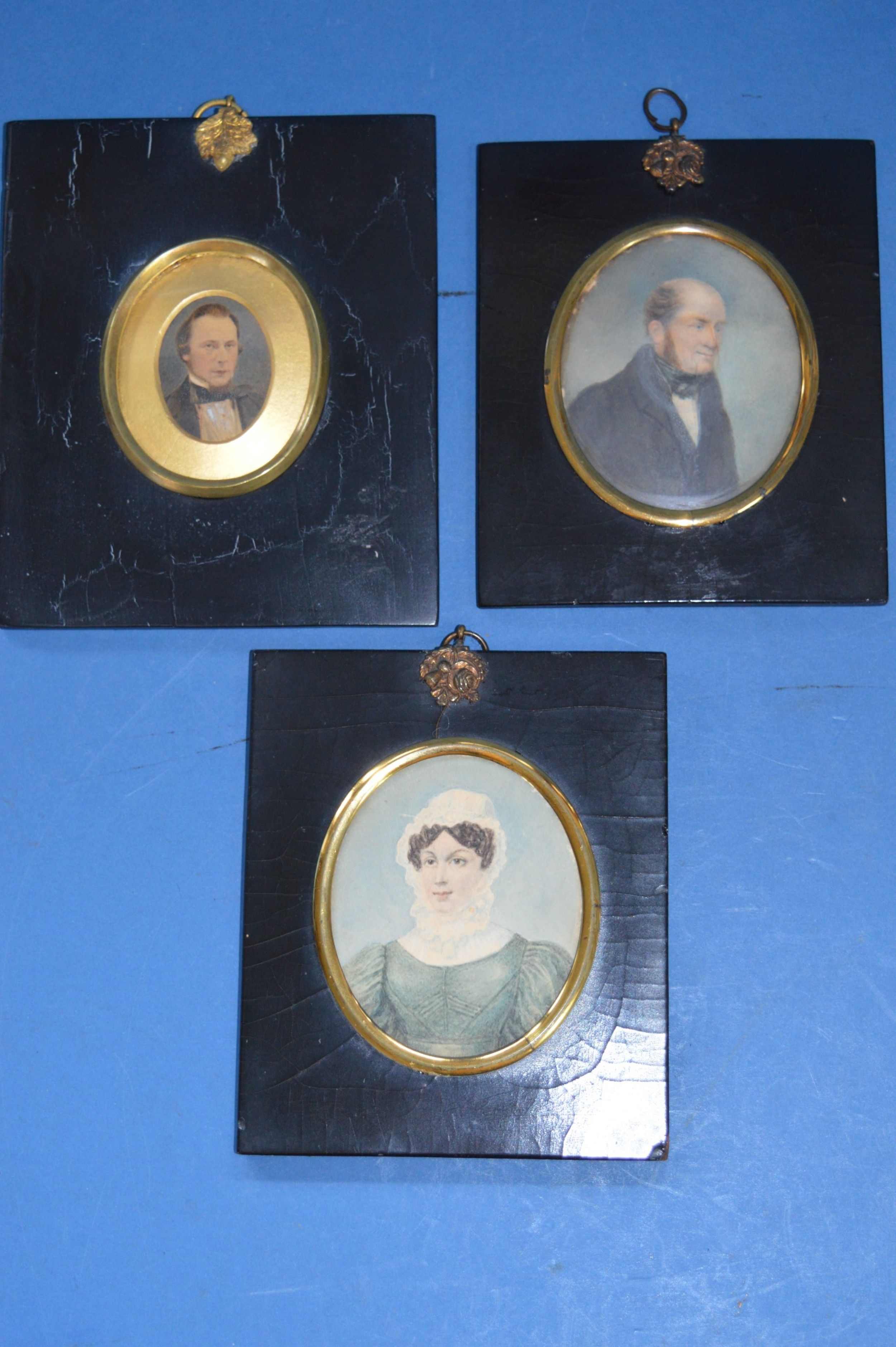 3 x 19th century framed oval portrait miniatures c 1850annotated to the rear with date of purchase 1950