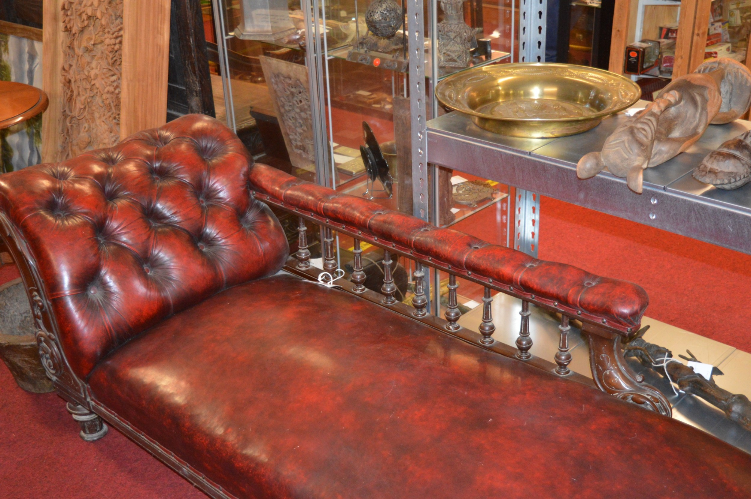 19th century leather chaise lounge c 1840