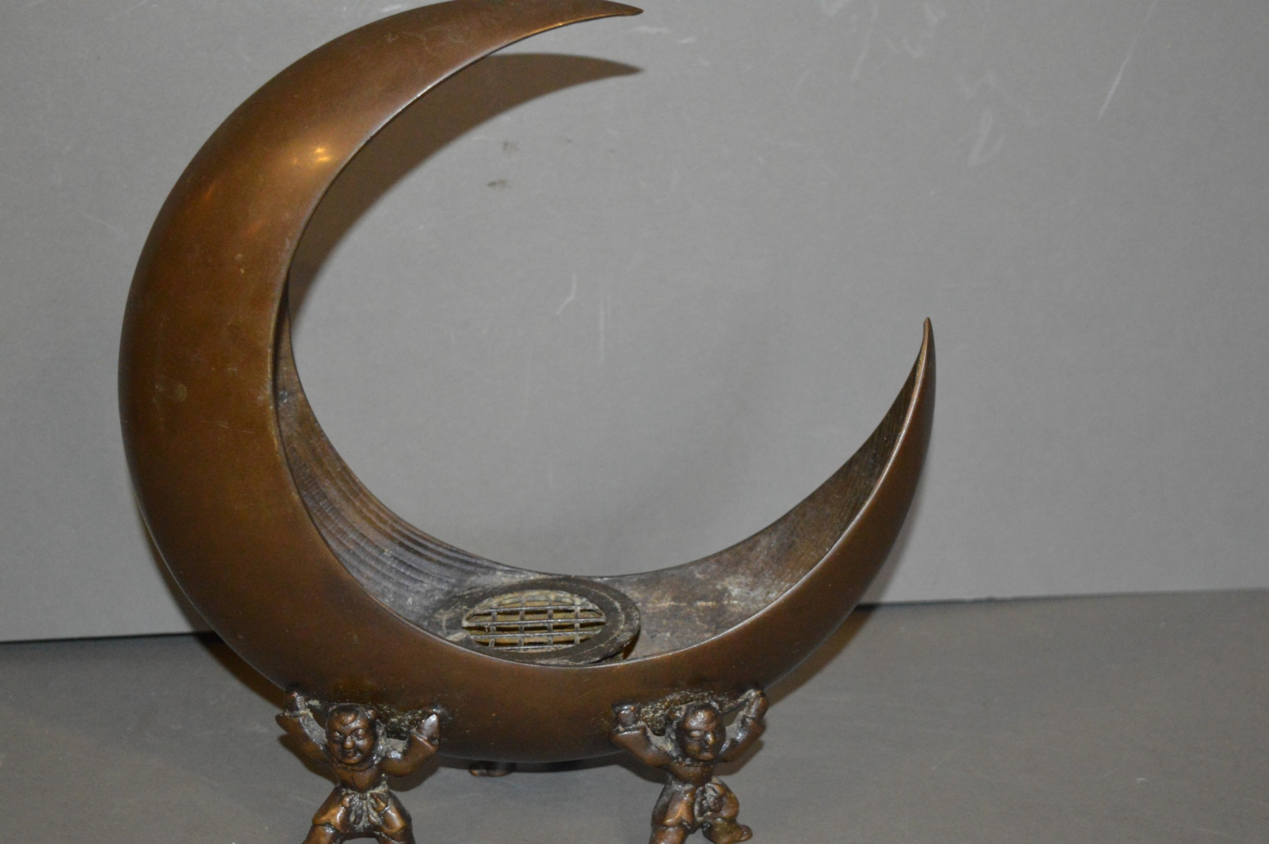 japanese bronze incense burner c 1920 unusual crescent moon shape