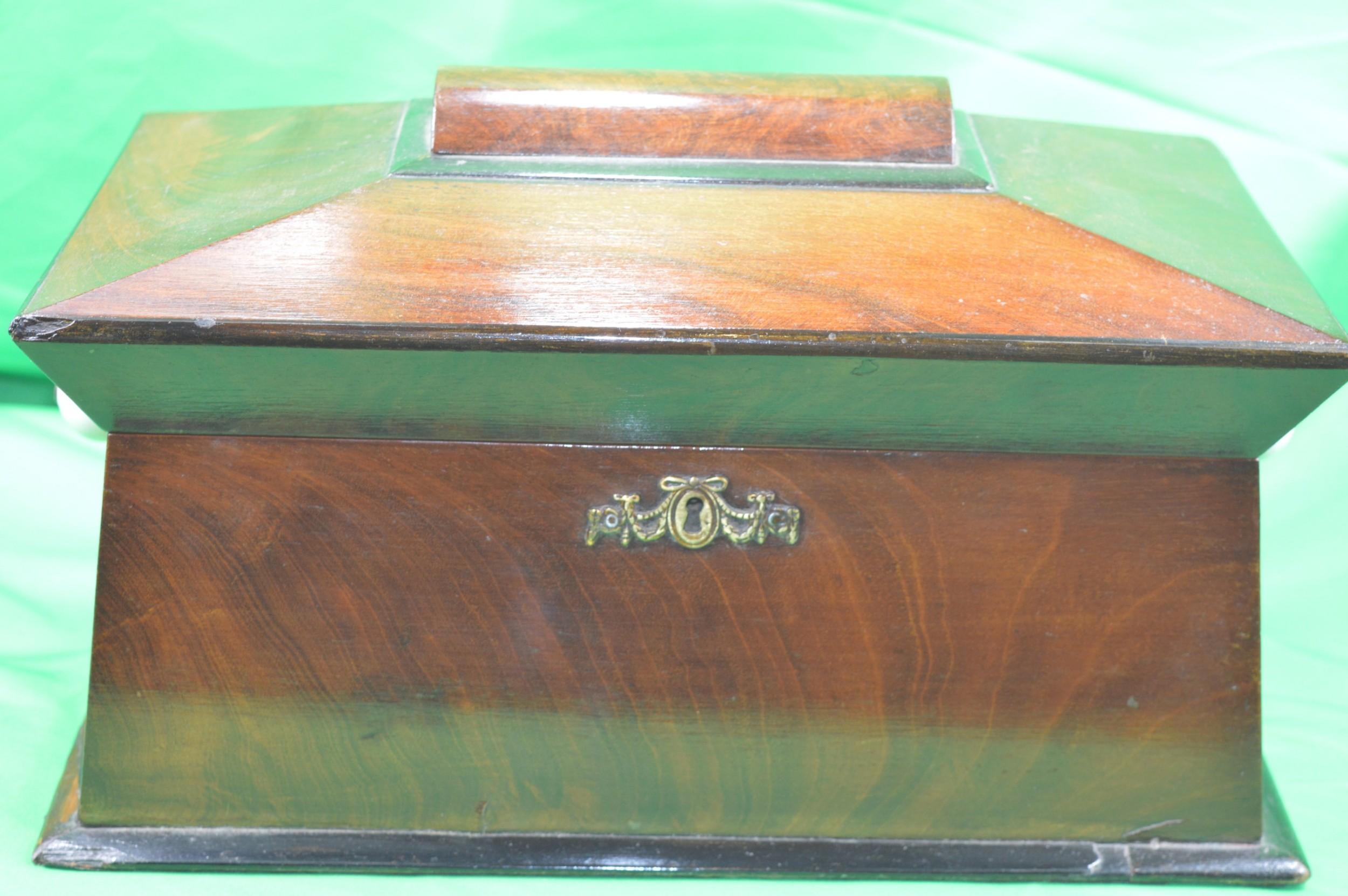 regency mahogany sarcophagus tea caddy c1815
