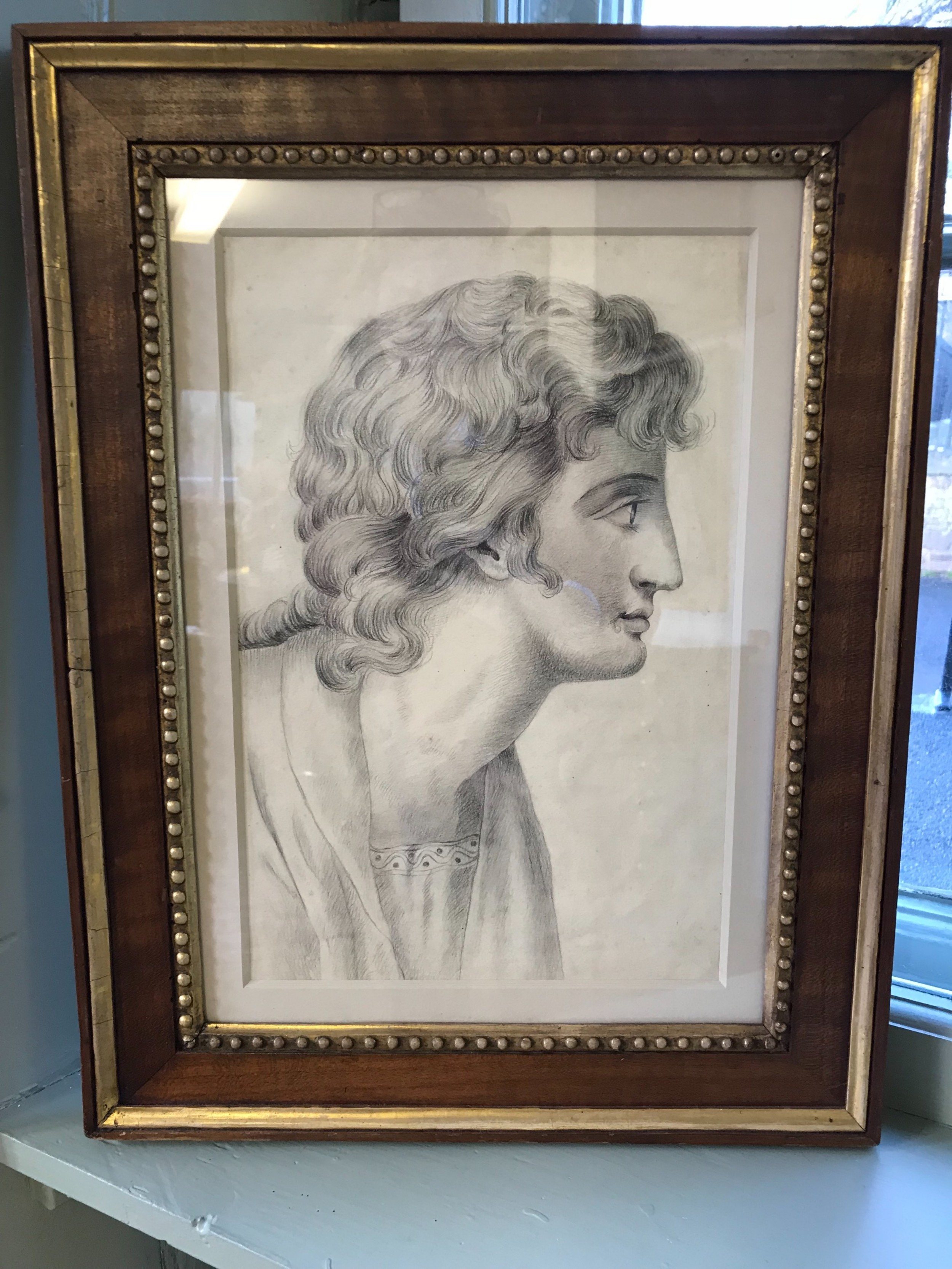 fine regency drawing in graphite of a young man neoclassical style in a good italian gesso and walnut frame