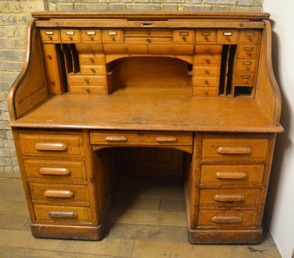1920s Oak Roll Top Writing Desk 433031 Sellingantiques