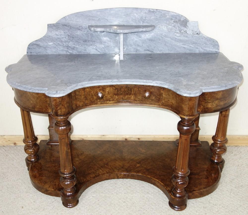 victorian marbletop burr walnut washstand