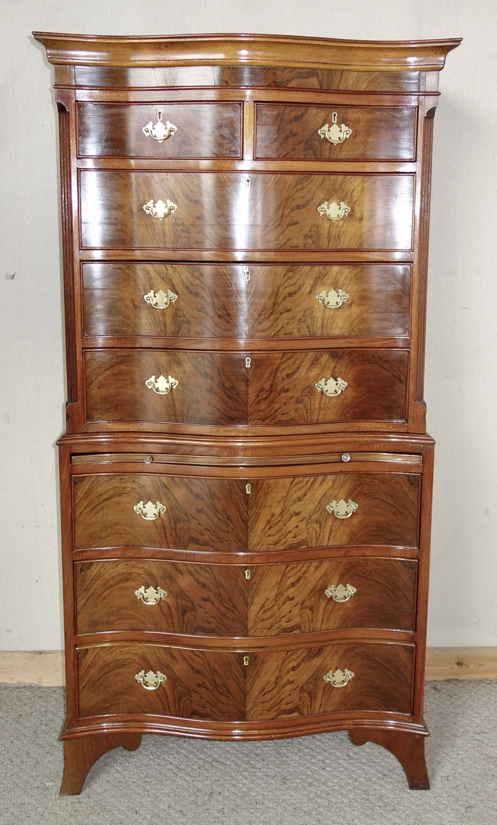 walnut chest on chest of drawers