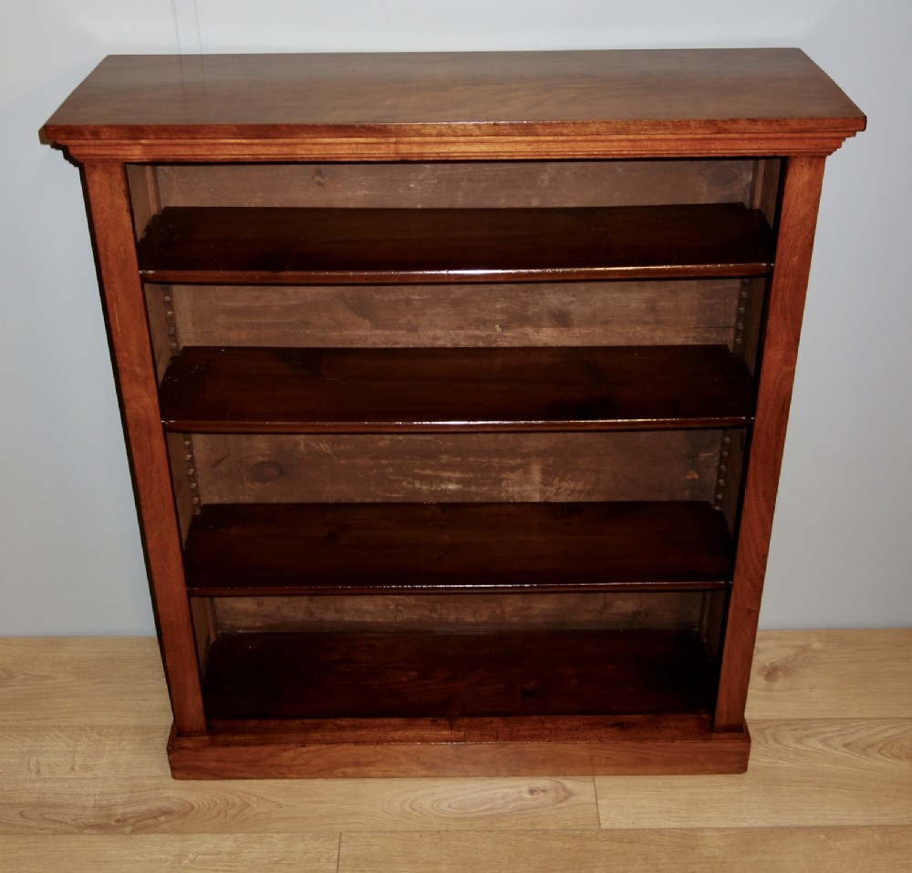 victorian open walnut bookcase