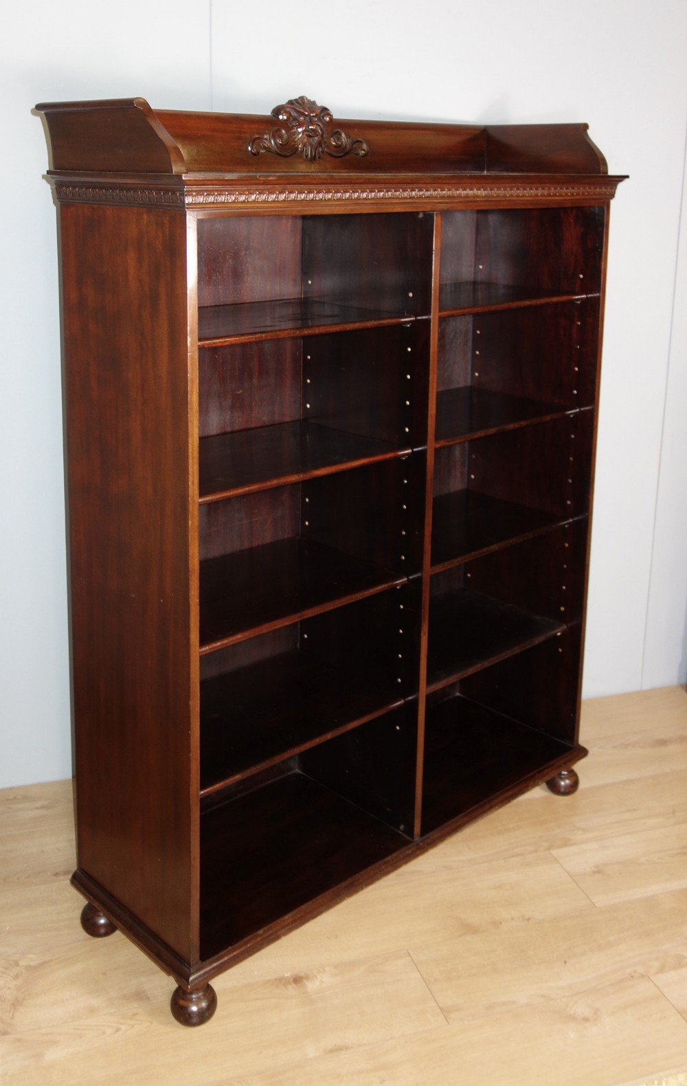 victorian double section open mahogany bookcase