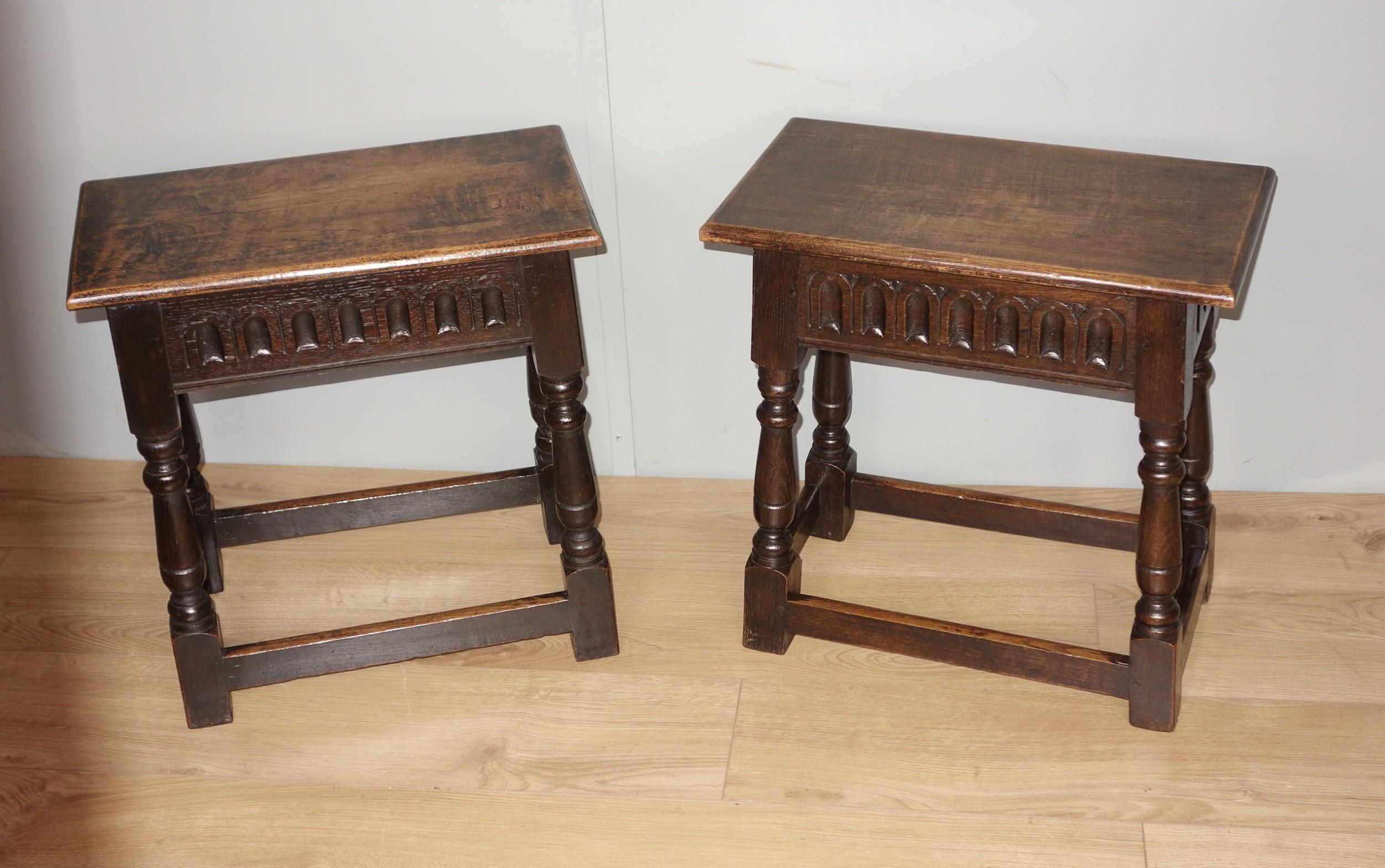 pair of edwardian oak joint stools
