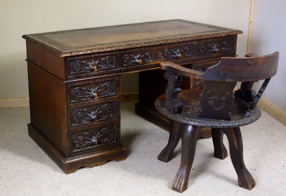 Oak Desk With Drawers ~ Victorian carved oak writing desk drawers