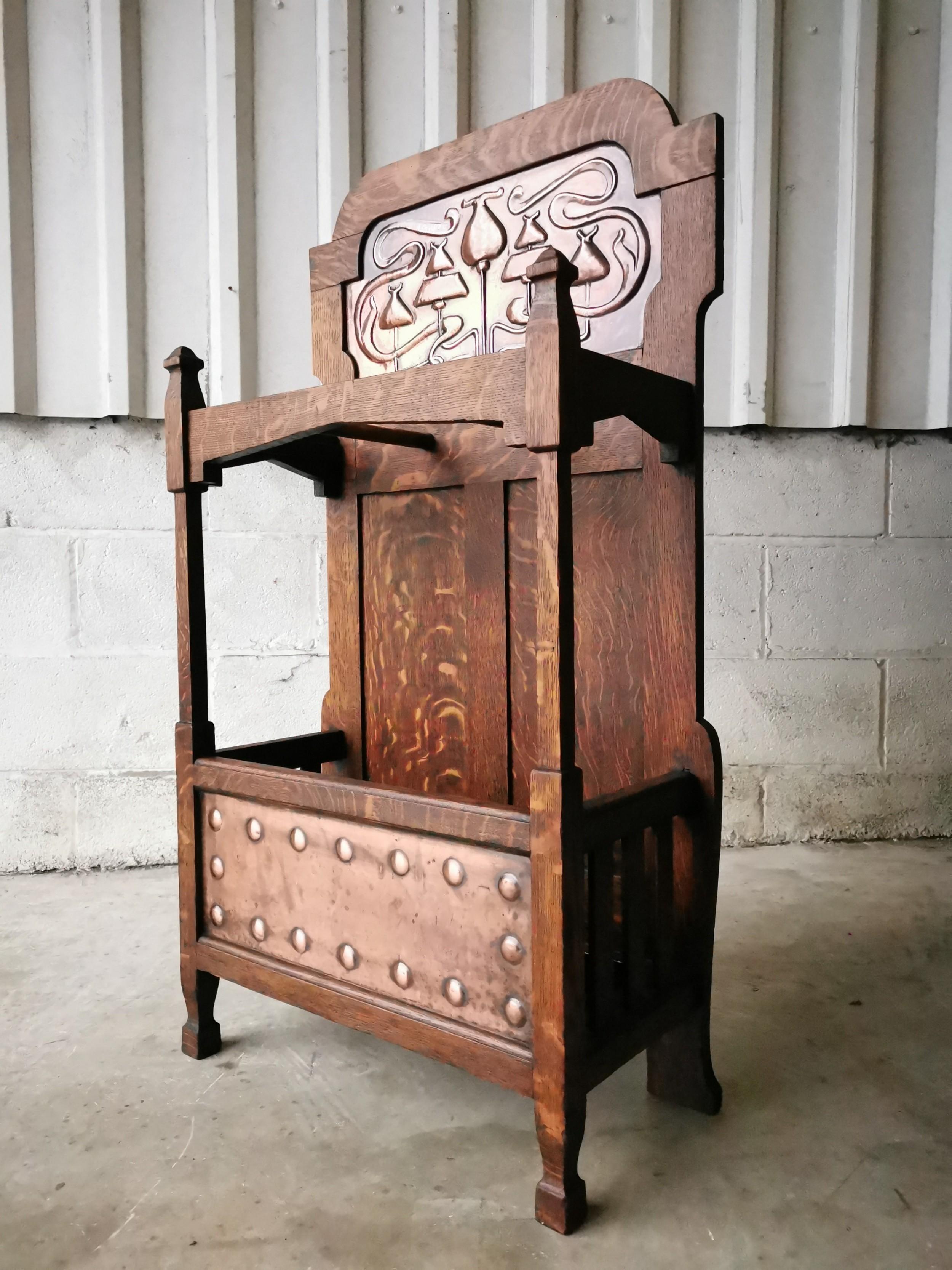 antique vintage arts crafts oak copper hall stick umbrella stand