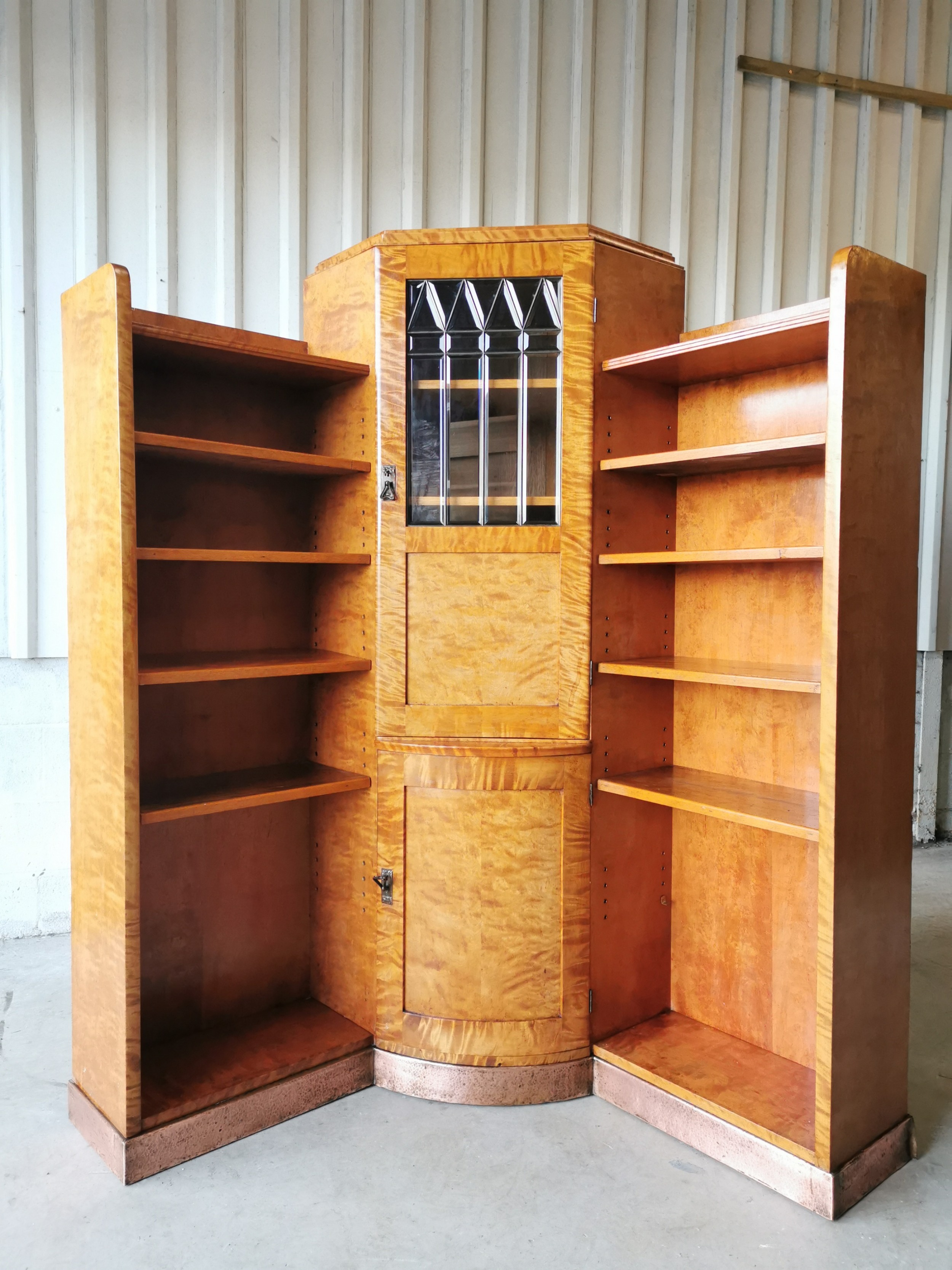 antique vintage satin birch copper art deco corner bookcase cabinet