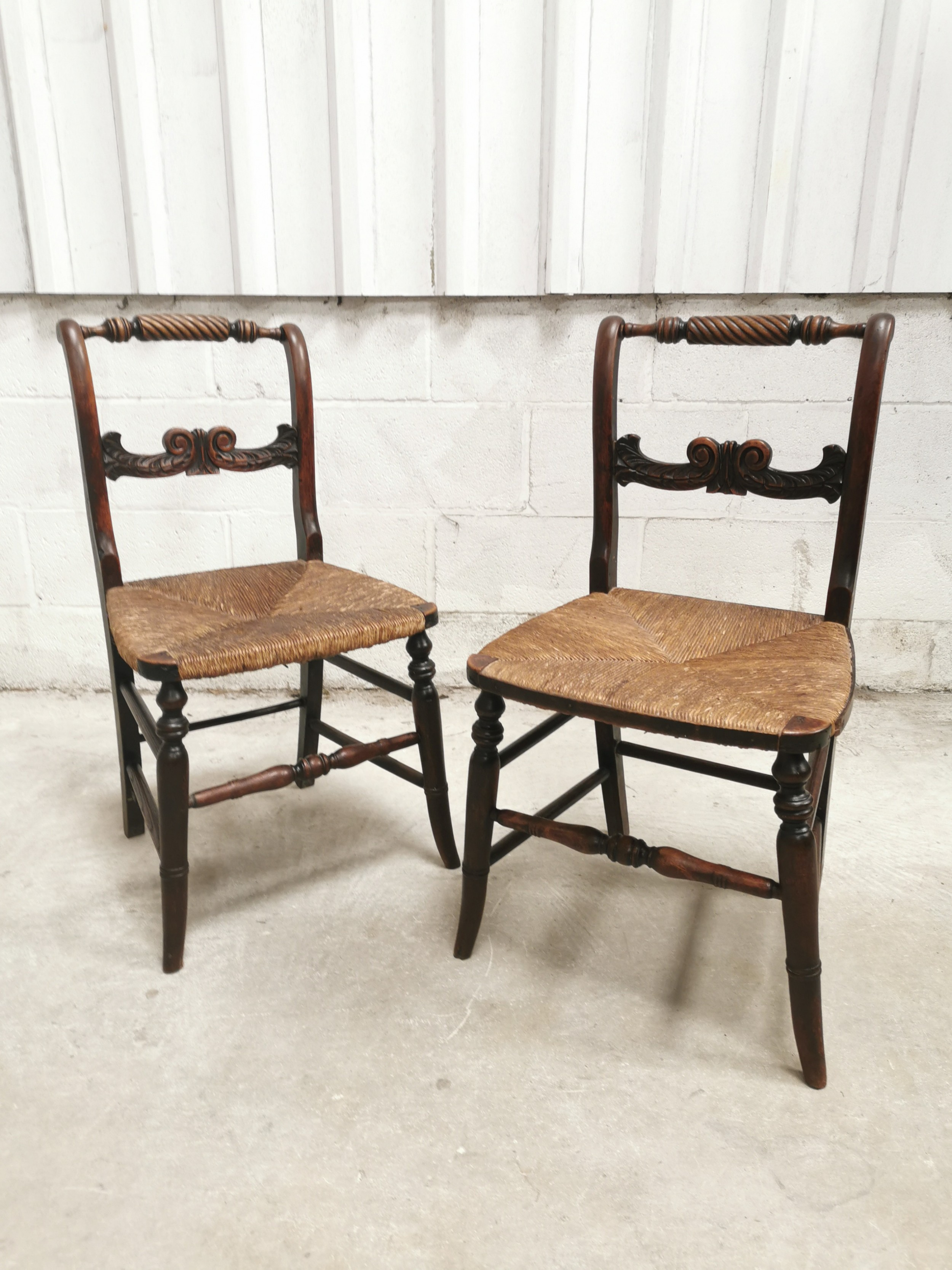 pair antique rush seated regency william iv hall side chairs