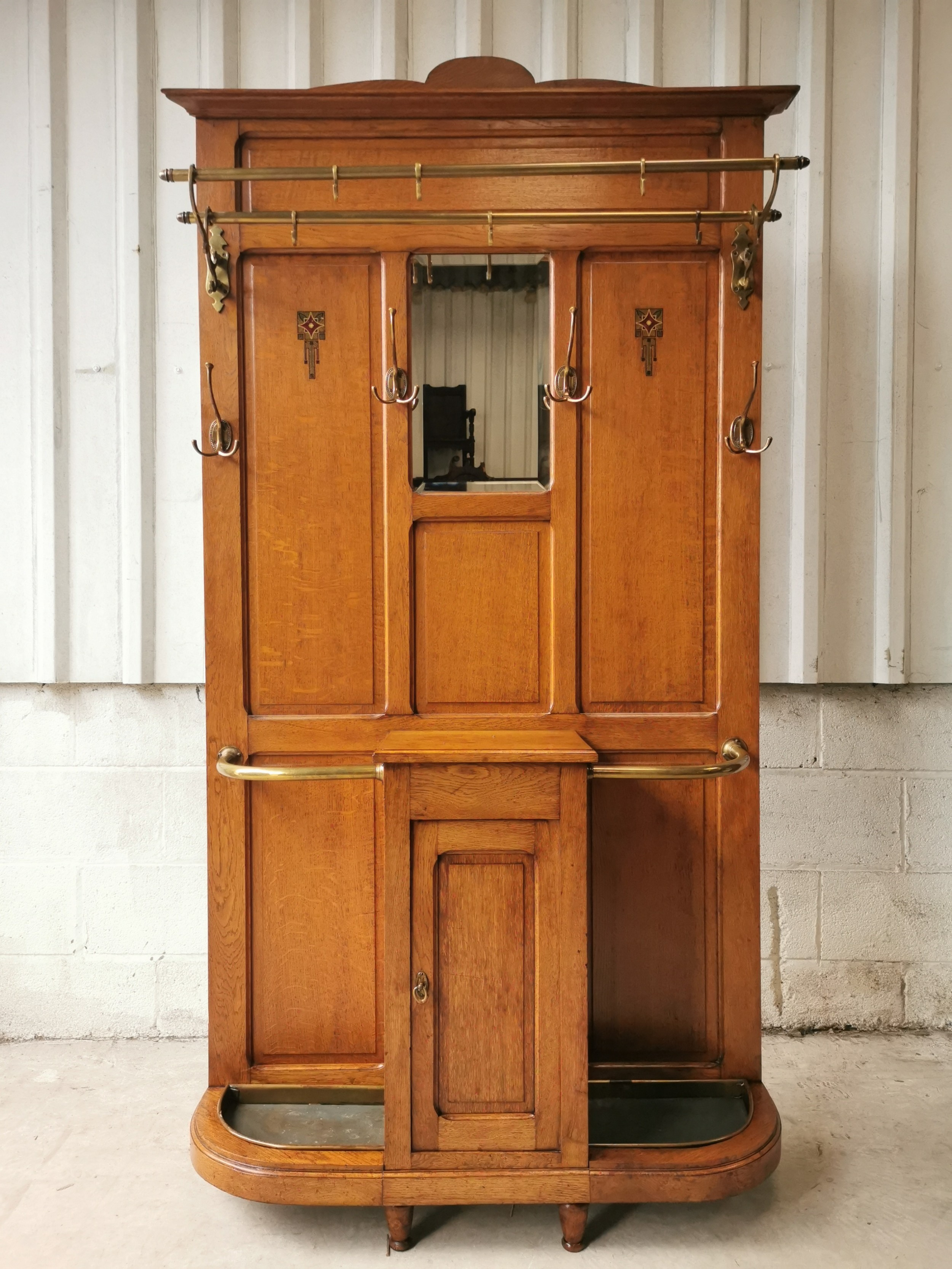 antique edwardian inlaid brass solid oak coat hall stand