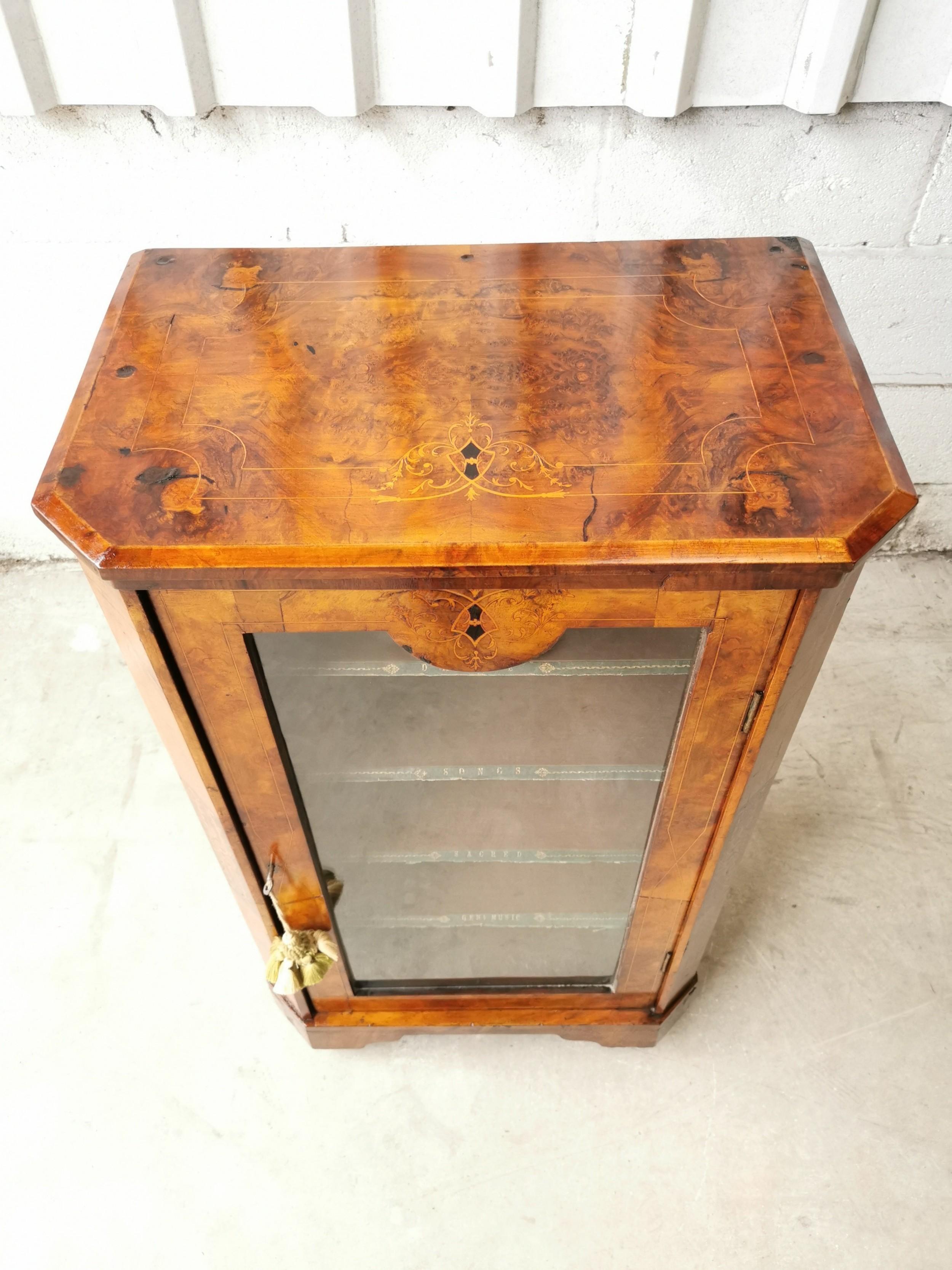 antique victorian aesthetic burr walnut inlaid glazed bookcase cabinet