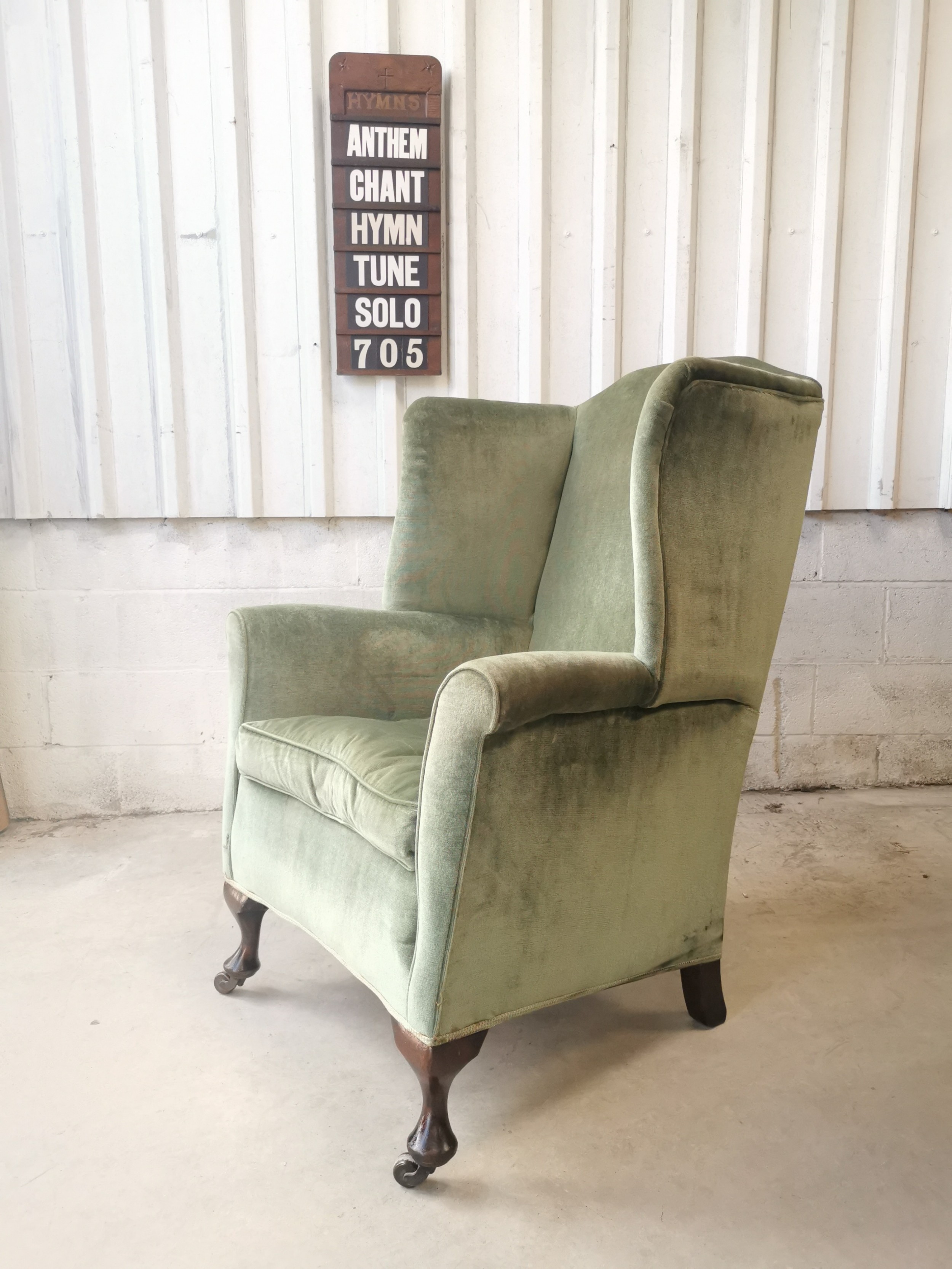 huge antique edwardian country house fireside wing armchair