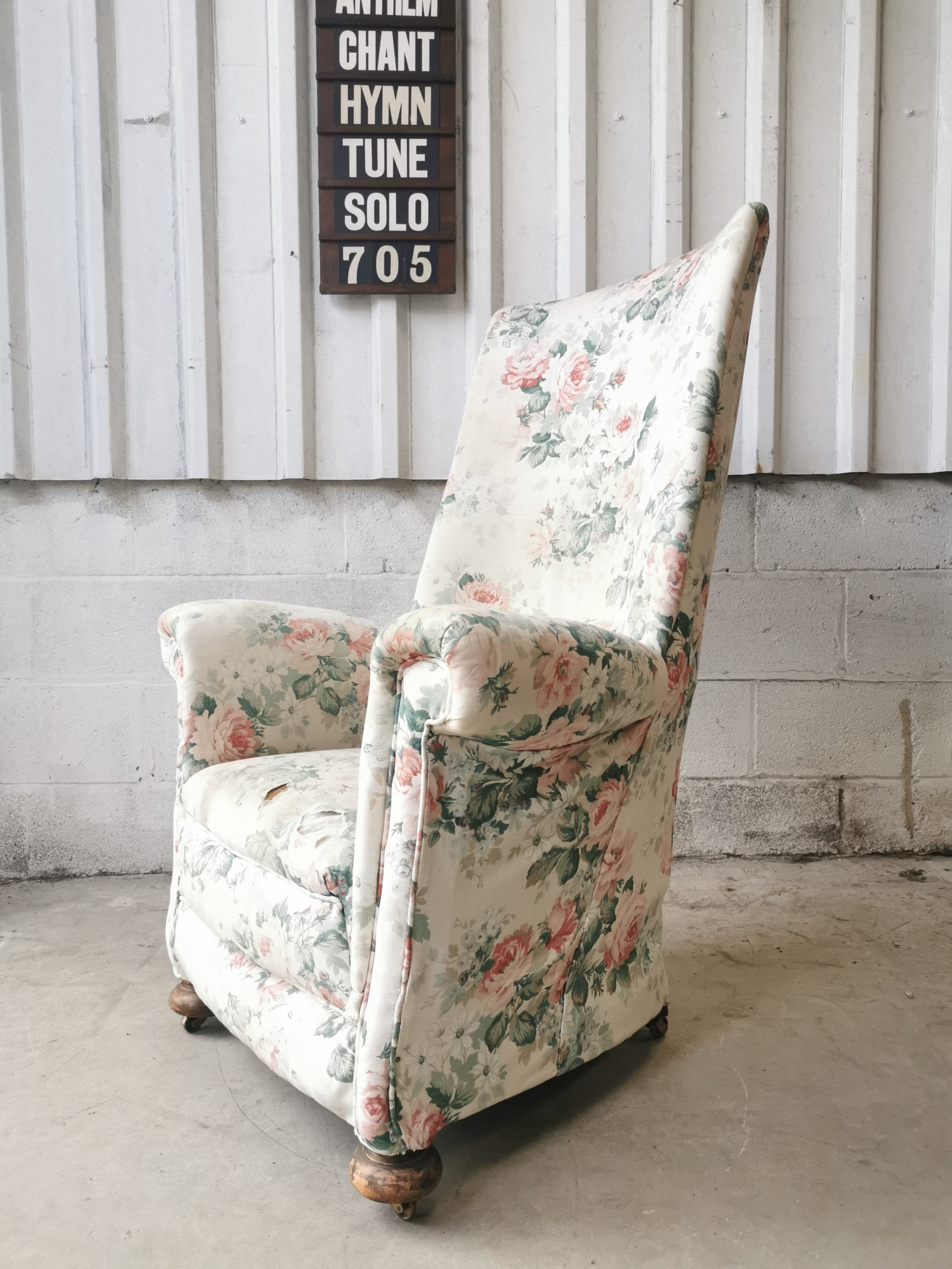 antique french high back country house rocking armchair