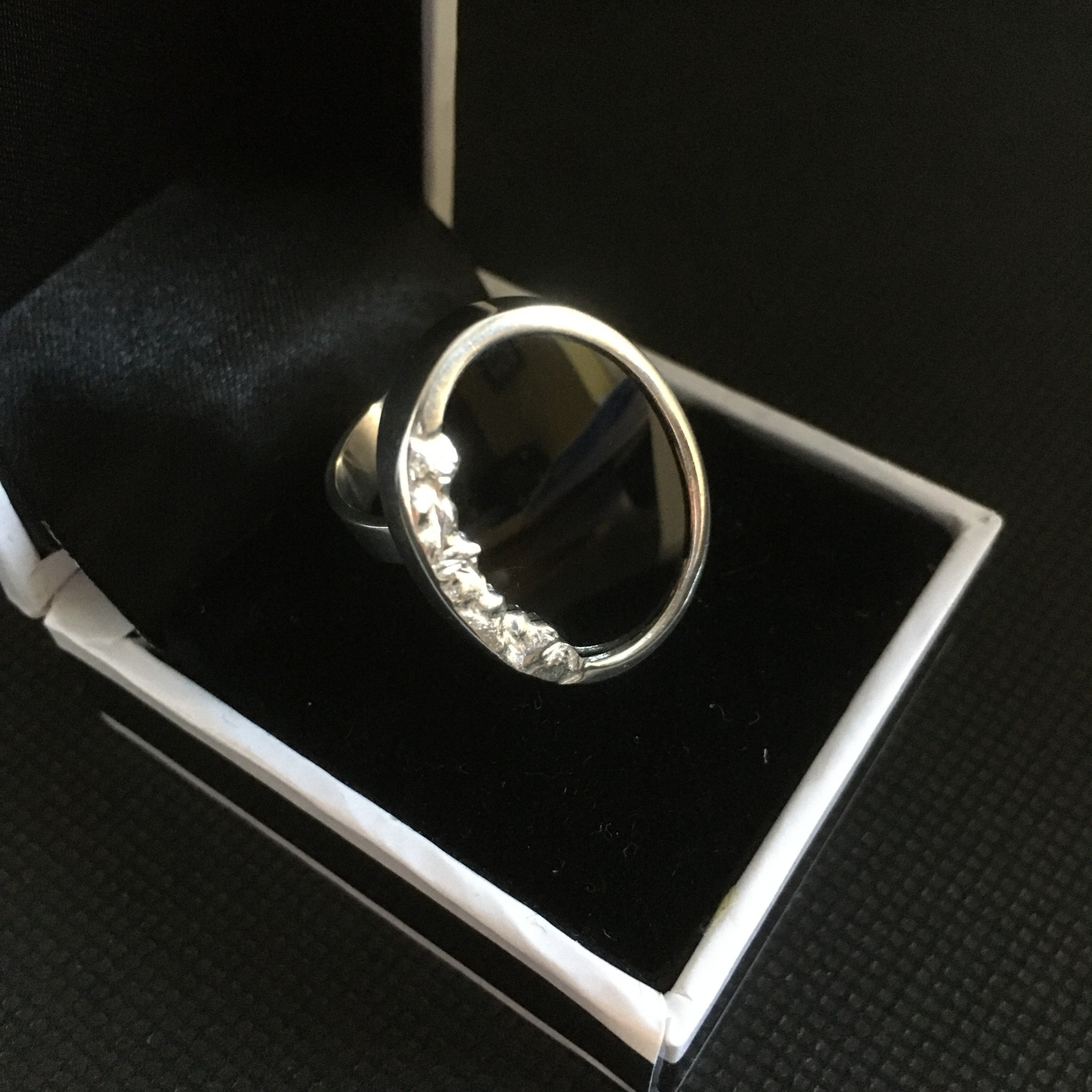 danish silver ring with onyx 1960s by n e from