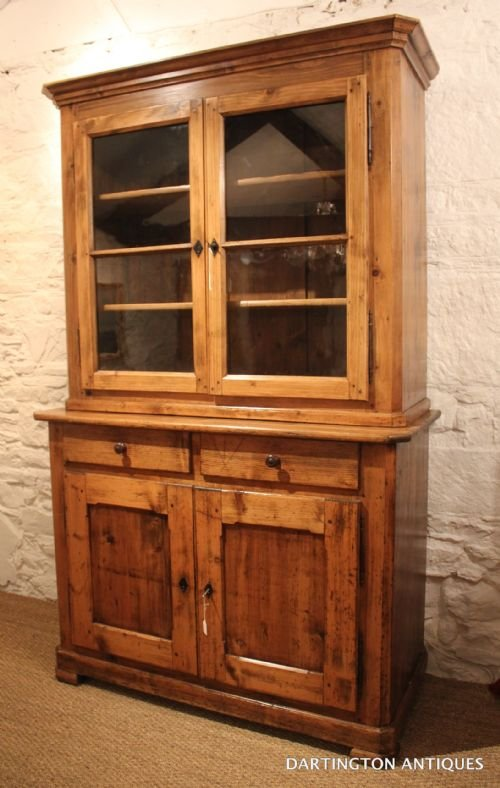 antique farmhouse pine bookcase - photo angle #2
