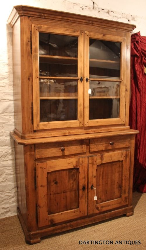 antique farmhouse pine bookcase - photo angle #3