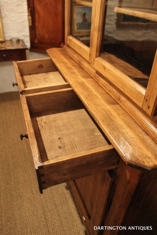 antique farmhouse pine bookcase - photo angle #5